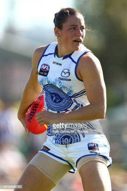 Kate Gillespie-Jones of the Kangaroos marks the ball during the AFLW Finals Series match between the Collingwood Magpies and the North Melbourne...