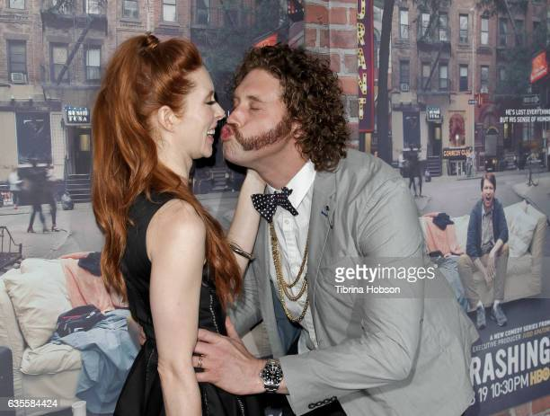 Kate Gorney and TJ Miller attend the premiere of HBO's 'Crashing' at Avalon on February 15 2017 in Hollywood California