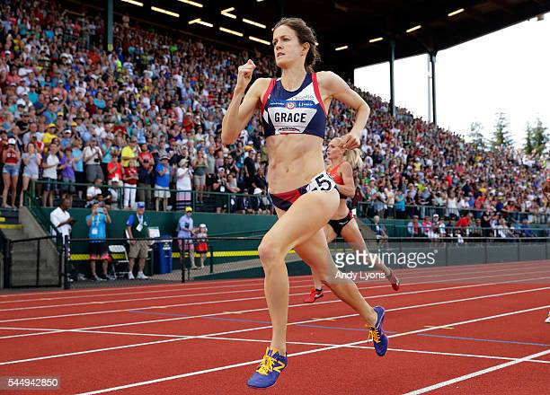 Kate Grace crosses the finishline to place first in the Women's 800 Meter Final during the 2016 US Olympic Track Field Team Trials at Hayward Field...