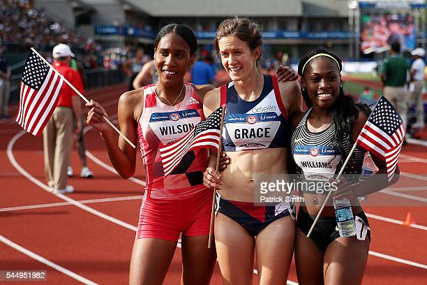 Kate Grace first place Ajee Wilson second place and Chrishuna Williams third place celebrate after the Women's 800 Meter Final during the 2016 US...