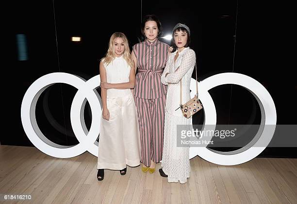 Kate Greer Liza Voloshin and Mia Moretti attend the Audi private reception at the Whitney Museum of American Art on October 26 2016 in New York City