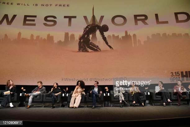 Kate Hahn, Luke Hemsworth, Denise Thé, Tessa Thompson, Jonathan Nolan, Evan Rachel Wood, Thandie Newton, Lisa Joy, and Aaron Paul speak onstage...