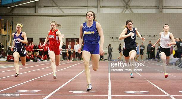 Kate Hall of Lake Region wins the 55meter dash final at the Class B Maine Indoor Track State Meet at Bates College in Lewiston Monday February 17 2014