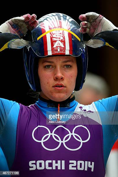 Kate Hansen of the United States looks on prior to a Women's luge run during a training session ahead of the Sochi 2014 Winter Olympics at the Sanki...
