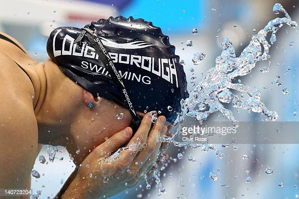 Kate Haywood of Loughborough University S WPC prepares to compete in the Women's 100m Breaststroke Final during day three of the British Gas Swimming...