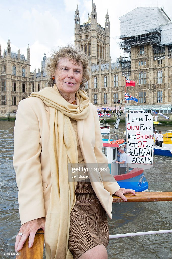 Nigel Farage Joins Fishing For Leave On A Flotilla Down The Thames : News Photo