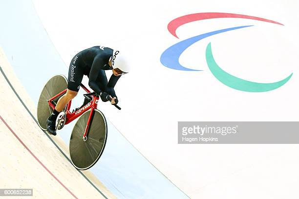 Kate Horan of New Zealand competes in the Women's 3km Pursuit C4 bronze medal final on day 1 of the Rio 2016 Paralympics at Rio Olympic Velodrome on...