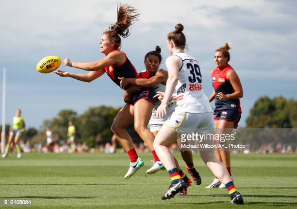 Kate Hore of the Demons in action during the 2018 AFLW Round 02 match between the Melbourne Demons and the Adelaide Crows at Casey Fields on February...