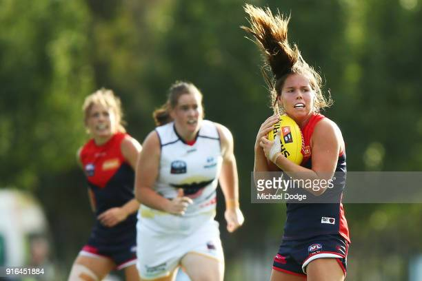 Kate Hore of the Demons marks the ball during the round two AFLW match between the Melbourne Demons and the Adelaide Crows at Casey Fields on...