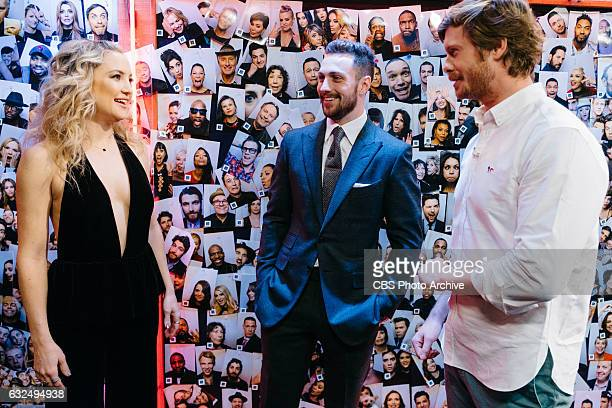 Kate Hudson Aaron TaylorJohnson and Anders Holm chat backstage during 'The Late Late Show with James Corden' Tuesday January 17 2017 On The CBS...