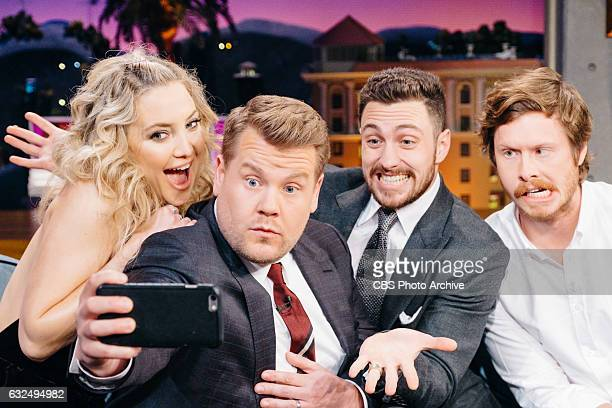 Kate Hudson Aaron TaylorJohnson and Anders Holm chat with James Corden during 'The Late Late Show with James Corden' Tuesday January 17 2017 On The...