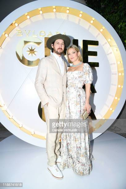 Kate Hudson and Danny Fujikawa attend the Bvlgari Hight Jewelry Exhibition on June 13 2019 in Capri Italy