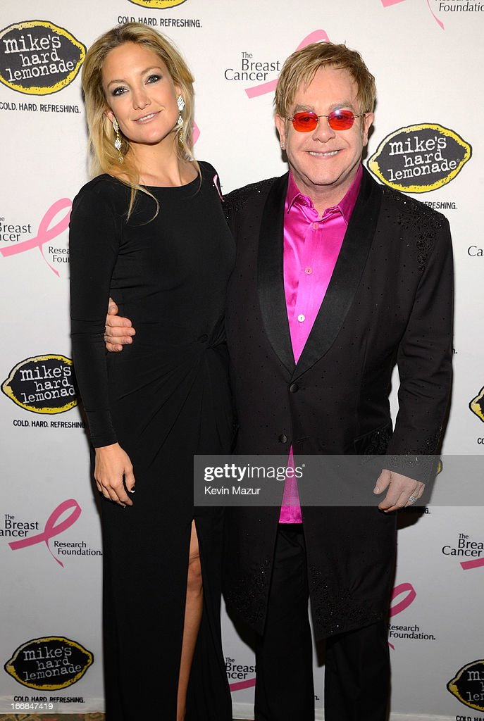 Kate Hudson and Elton John attend the Breast Cancer Foundation's Hot Pink Party at the Waldorf Astoria Hotel on April 17, 2013 in New York City.