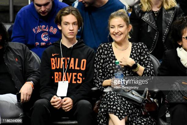 Kate Hudson and her son Ryder Robinson attend a basketball game between the Los Angeles Clippers and the Portland Trail Blazers at Staples Center on...