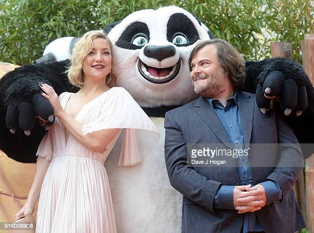 Kate Hudson and Jack Black attends the European Premiere of 'Kung Fu Panda 3' at Odeon Leicester Square on March 6 2016 in London England