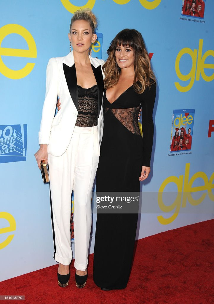 Kate Hudson and Lea Michele arrives at the 'GLEE' Premiere Screening And Reception at Paramount Studios on September 12, 2012 in Hollywood, California.