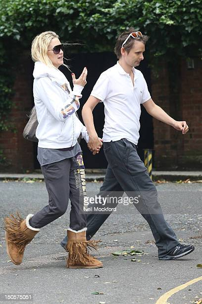 Kate Hudson and Matt Bellamy seen heading to a gym in Hampstead on August 22 2012 in London England