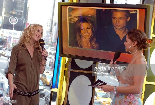 Kate Hudson and MTV VJ Vanessa Minnillo during Kate Hudson Visits MTV's 'TRL' May 21 2004 at MTV Studios Times Square in New York City New York...