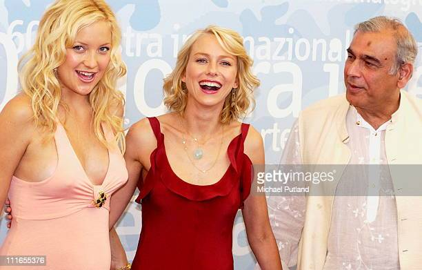 Kate Hudson and Naomi Watts with Ismail Merchant at the photocall for the film 'Le Divorce' at the 2003 Venice Film Festival