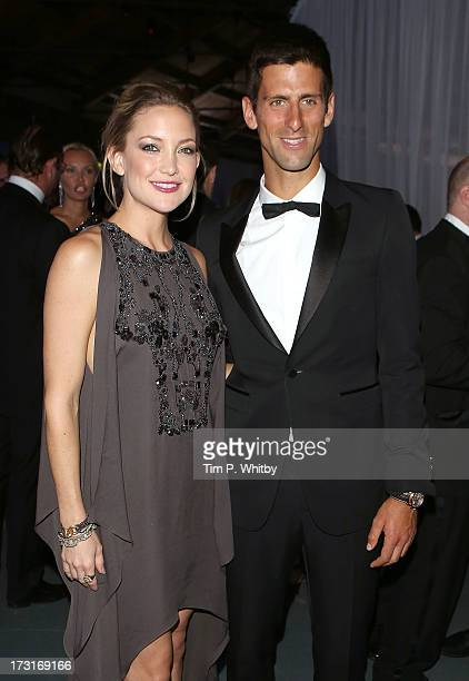 Kate Hudson and Novak Djokovic attend the Novak Djokovic Foundation inaugural London gala dinner at The Roundhouse on July 8 2013 in London England...