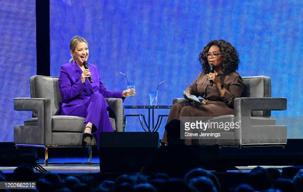 Kate Hudson and Oprah Winfrey speak during Oprah's 2020 Vision Your Life in Focus Tour presented by WW at Chase Center on February 22 2020 in San...