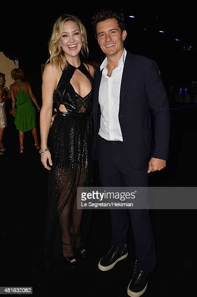 Kate Hudson and Orlando Bloom attend The Leonardo DiCaprio Foundation 2nd Annual SaintTropez Gala at Domaine Bertaud Belieu on July 22 2015 in...