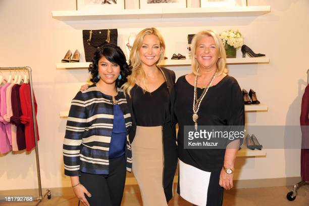 Kate Hudson Ann Taylor Global Ambassador and Kay Krill President and CEO of ANN INC with the ANNpower 2012 Grant Winner Monica Mishra at the Clinton...