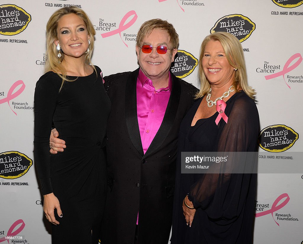Kate Hudson, Elton John and CEO of Ann Taylor Kay Krill attend the Breast Cancer Foundation's Hot Pink Party at the Waldorf Astoria Hotel on April 17, 2013 in New York City.