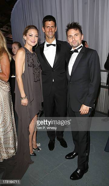 Kate Hudson Novak Djokovic and Matt Bellamy attend the Novak Djokovic Foundation inaugural London gala dinner at The Roundhouse on July 8 2013 in...