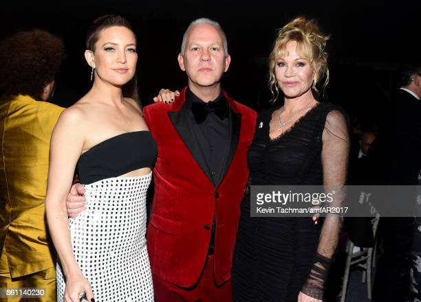 Kate Hudson Ryan Murphy and Melanie Griffith at amfAR Los Angeles 2017 at Ron Burkle's Green Acres Estate on October 13 2017 in Beverly Hills...