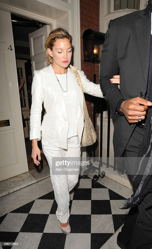 Kate Hudson sighting leaving the Goop Party at Mark's Club Mayfair on May 21, 2013 in London, England.