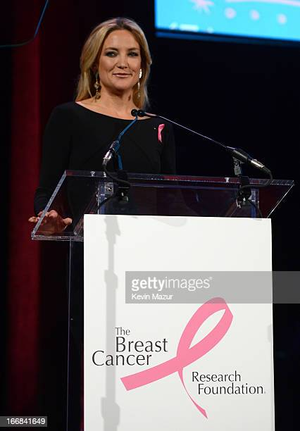 Kate Hudson speaks on stage at the Breast Cancer Foundation's Hot Pink Party at the Waldorf Astoria Hotel on April 17 2013 in New York City
