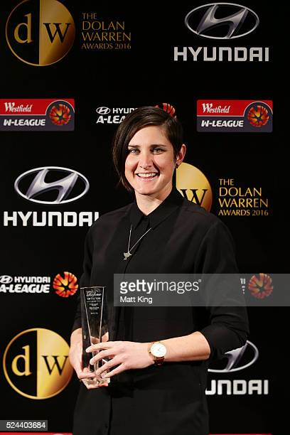 Kate Jacewicz poses with the Westfield W-League's Referee of the Year Award during the 2016 FFA Dolan Warren Awards at Carriageworks on April 26,...