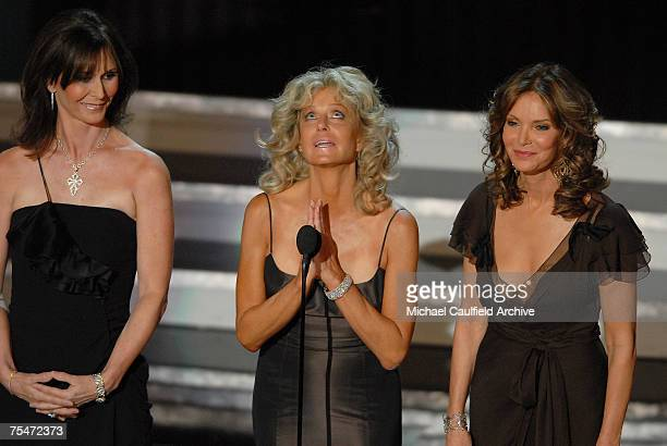 Kate Jackson Farrah Fawcett and Jaclyn Smith present Aaron Spelling tribute at the Shrine Auditorium in Los Angeles California