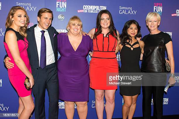 Kate Jenkinson Kevin Bishop Rebel Wilson Lauren Ash Liza Lapira and Cosmpolitan EditorinChief Joanna Coles attend Cosmopolitan's Super Fun Night With...