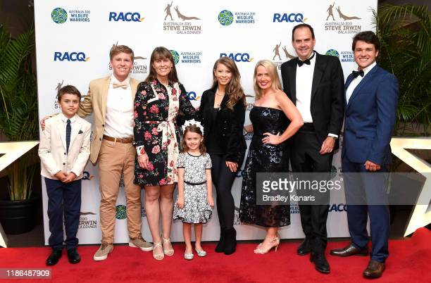 Kate Jones MP the Queensland Minister for Innovation and Tourism poses for a photo with Robert Irwin, Terri Irwin, Bindi Irwin and Chandler Powell at...
