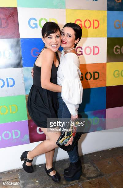 Kate Kelton and Sandy Duarte arrvie at Val Kilmer's PopUp Art Exhibition Icon Go On I'll Go On VIP Opening Reception at The Gabba Gallery on July 20...