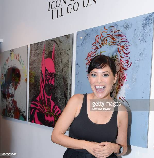 Kate Kelton arrives at Val Kilmer's PopUp Art Exhibition Icon Go On I'll Go On VIP Opening Reception at The Gabba Gallery on July 20 2017 in Los...
