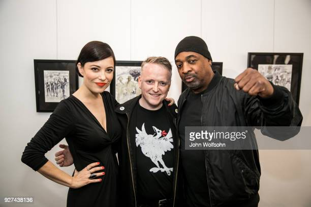 Kate Kelton Matt Kennedy and Chuck D attend The Launch of Chuck D's first solo art exhibition at Gallery 30 South on March 4 2018 in Pasadena...