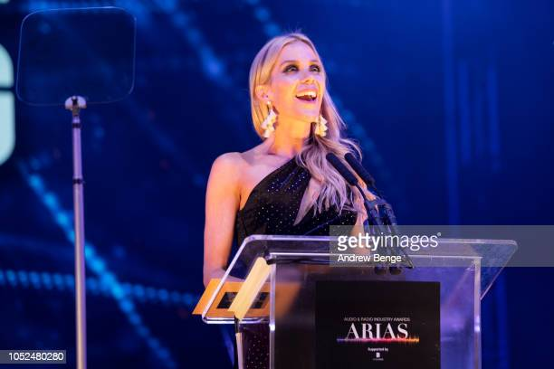 Kate Lawler presents an award at the Audio and Radio Industry Awards at First Direct Arena Leeds on October 18 2018 in Leeds England