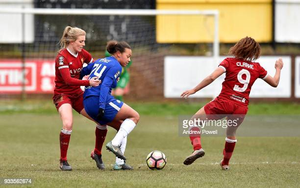 Kate Longhurst of Liverpool Ladies competes with Drew Spence of Chelsea Ladies during the SSE Women's FA Cup Quarter Final match between Liverpool...