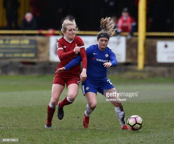 Kate Longhurst of Liverpool Ladies competes with Erin Cuthbert of Chelsea Ladies during the SSE Women's FA Cup Quarter Final match between Liverpool...