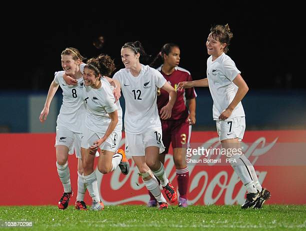 Kate Loye Evie Millynn Stephanie Skilton and Holly Patterson of New Zealand celebrate after the first goal during the FIFA U17 Women's World Cup...