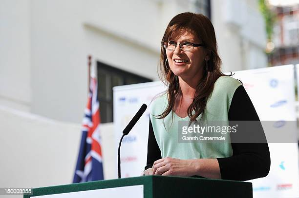 Kate Lundy, Sports Minister for Australia speaks at a Garden Party in honour of the Australian Olympic Medalists at the residence of John Dauth, the...