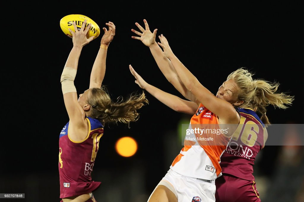 Kate Lutkins of the Lions marks the ball during the round seven AFLW match between the Greater Western Sydney Giants and the Brisbane Lions at Blacktown International Sportspark on March 16, 2018 in Sydney, Australia.
