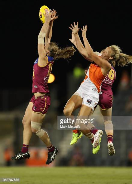 Kate Lutkins of the Lions marks the ball during the round seven AFLW match between the Greater Western Sydney Giants and the Brisbane Lions at...