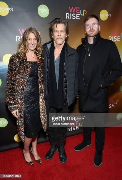 Kate Maloney and Kevin Bacon attend the WeRiseUP Launch Event With Kevin Bacon during the 2019 Sundance Film Festival at TAO Nightclub on January 27...