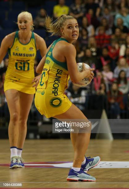 Kate Maloney of Australia in action during the Vitality Netball International Series match between South Africa and Australian Diamonds as part of...
