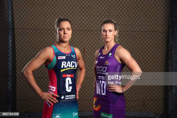 Kate Maloney of the Melbourne Vixens and Gabi Simpson of the Queensland Firebirds pose during the Suncorp Super Netball 2018 season launch on April...