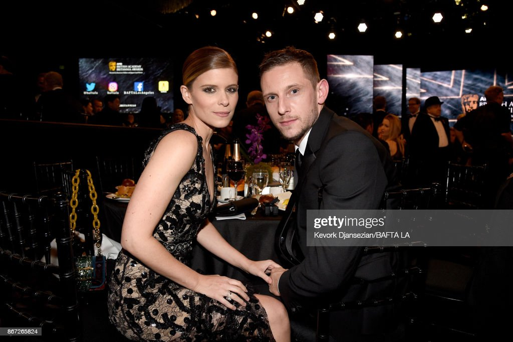 Kate Mara (L) and Jamie Bell at the 2017 AMD British Academy Britannia Awards Presented by American Airlines And Jaguar Land Rover at The Beverly Hilton Hotel on October 27, 2017 in Beverly Hills, California.